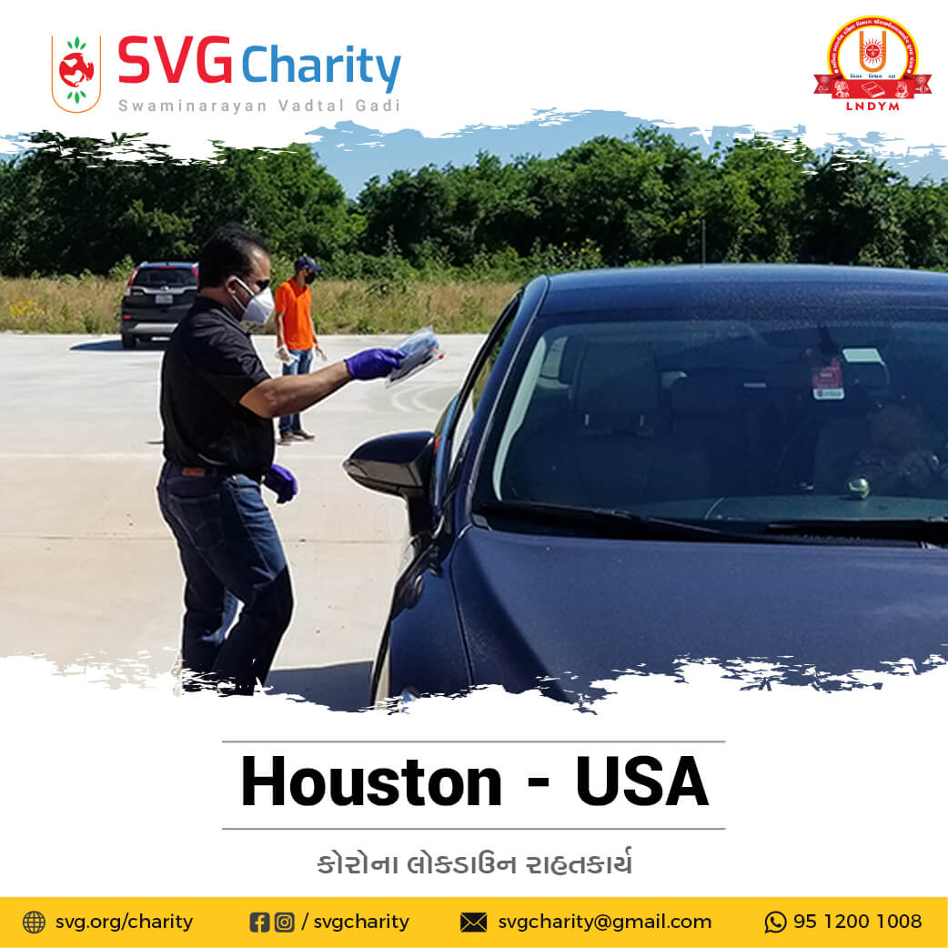 SVG Charity : Corona (COVID-19) PPE Kit Drive Thru By Vadtal Dham Houston,TX USA