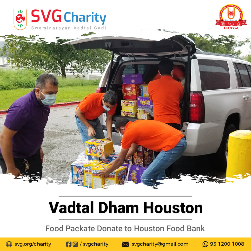 SVG Charity Donated 1800+ pounds of food and water to the Houston Food Bank By Vadtal Dham Houston, USA