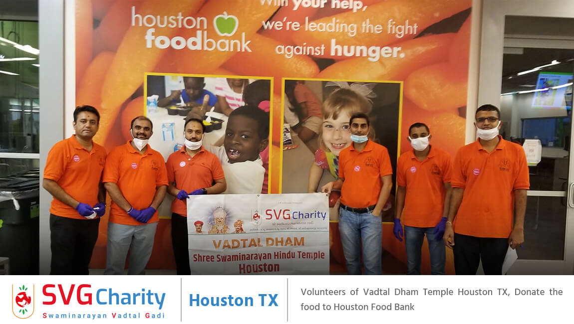 SVG Charity : Donated Food & Water to the Houston Food Bank By Vadtal Dham Houston, USA