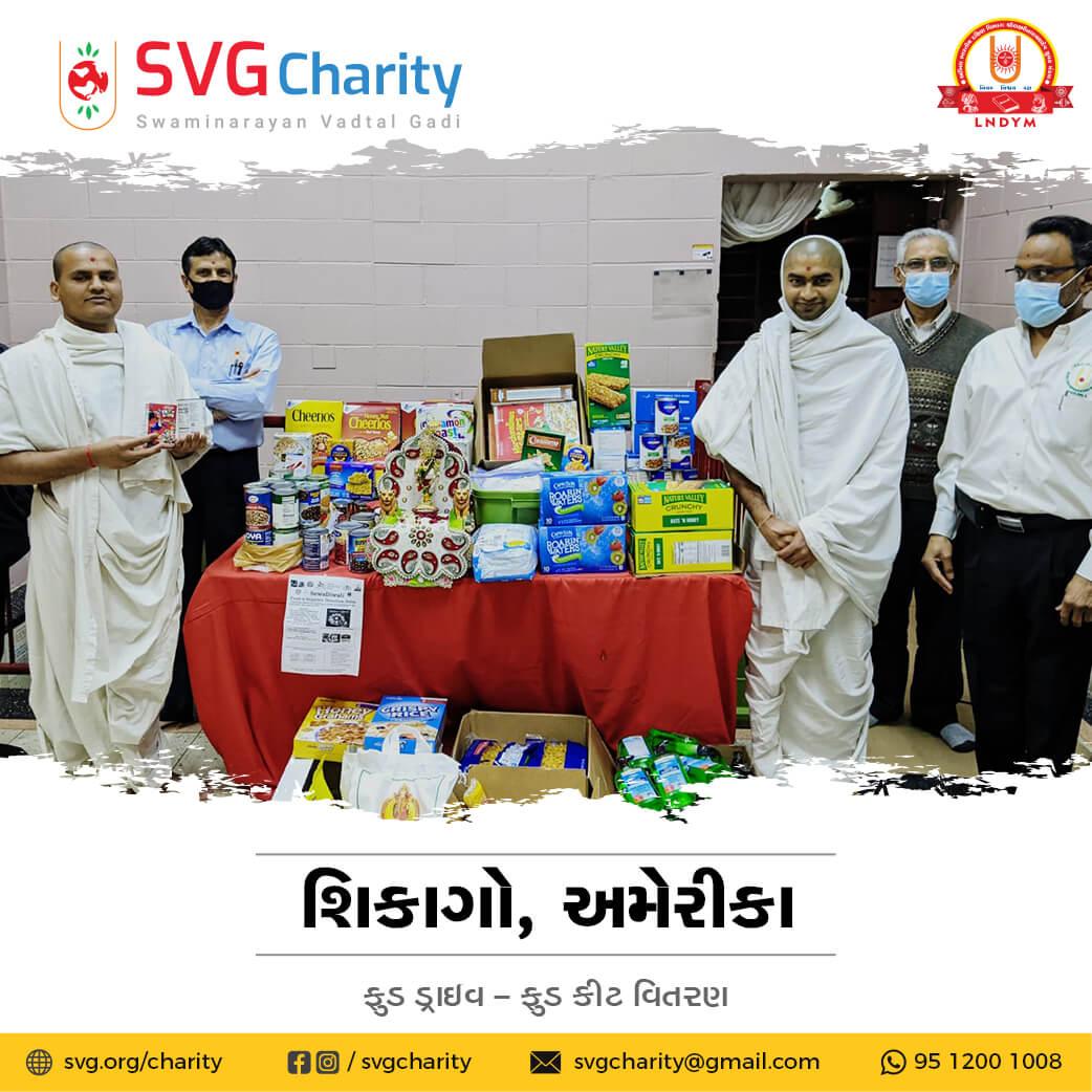 SVG Charity : Food Drive By Wheeling Swaminarayan Temple, IL – USA | 2020