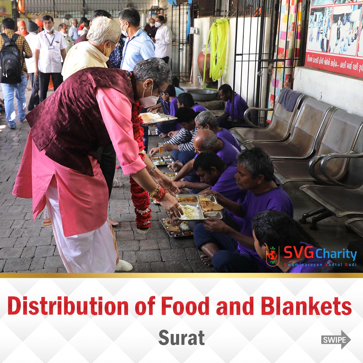 SVG Charity : Distribution of Food and Blankets by LNDYM Surat | 09 Jan 2021
