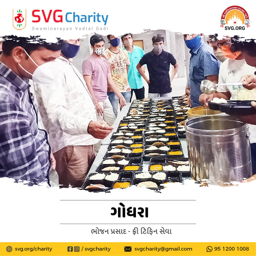 SVG Charity : Food Donation(Tiffin Seva) for Covid-19 Patient & Home Quarantined Families in Godhra | April 2021
