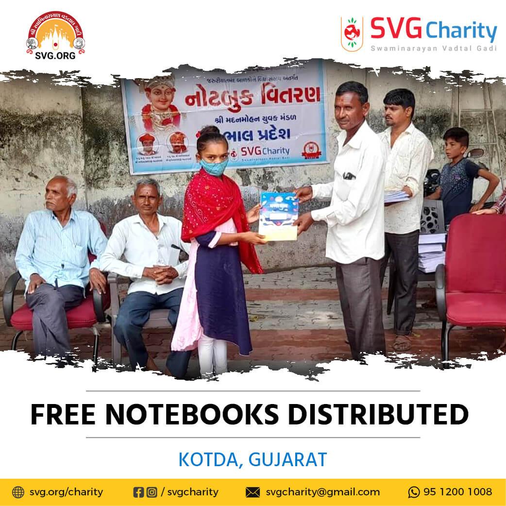 SVG Charity :- Distributed Free Notebooks – Village Kotda Ta. Dhandhuka (Bhal Pradesh), Gujarat | Sep 2021