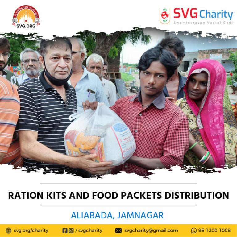 Distribution of Ration Kits and Food Packets Flood Relief Work – Aliabada Jamnagar Gujarat Sep 2021 2