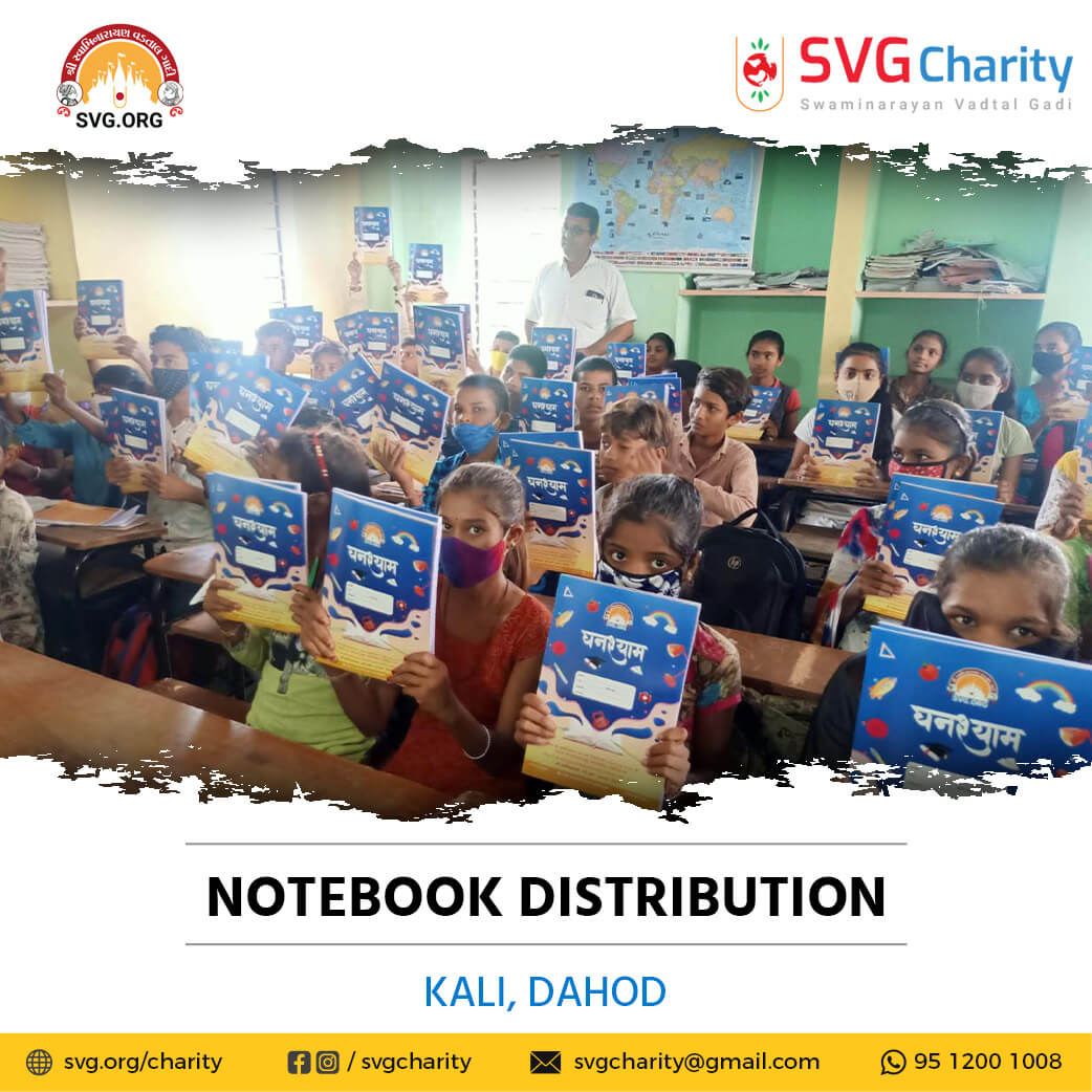SVG Charity :- Distributed Free Notebooks – Dahod, Gujarat | Sep 2021