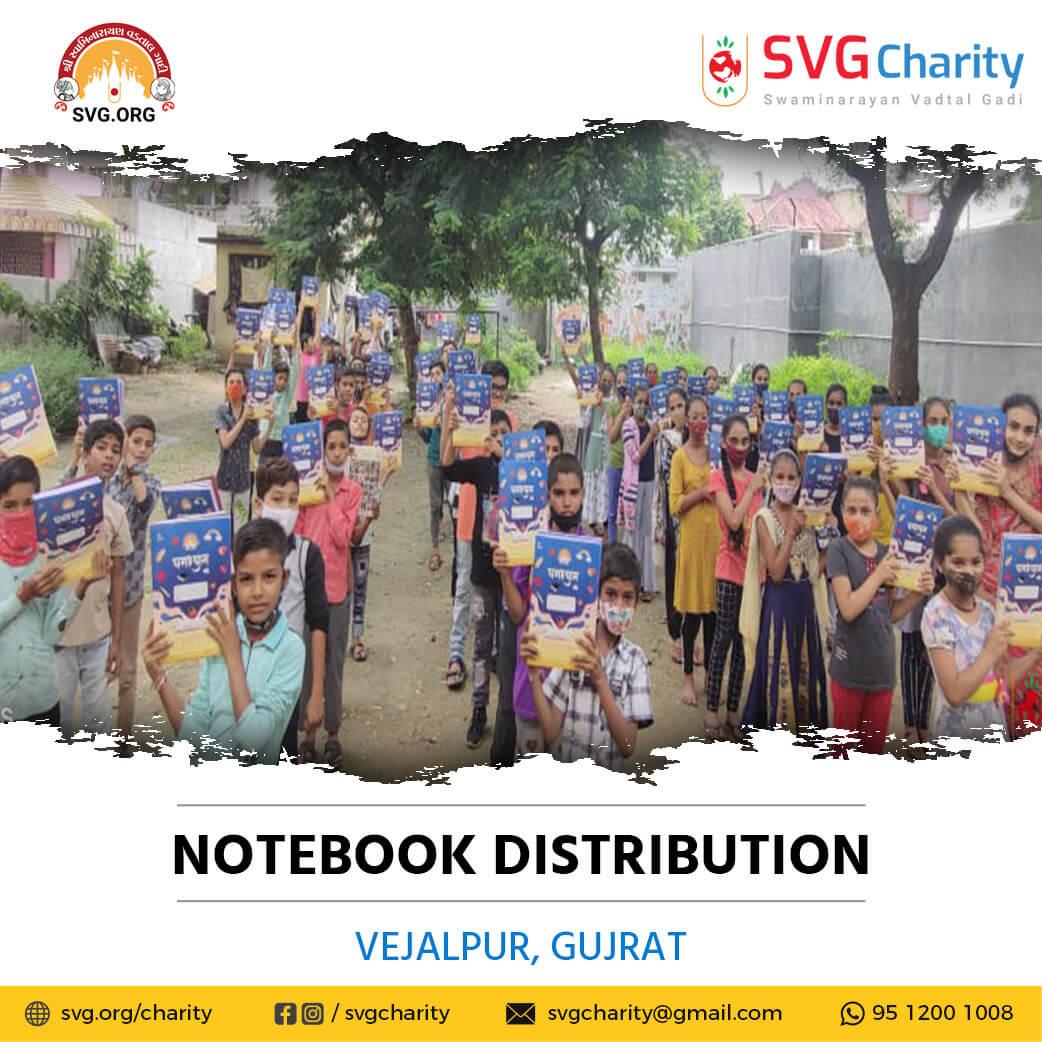 SVG Charity :- Distributed Free Notebooks – Vejalpur, Ahmedabad, Gujarat | Sep 2021